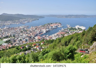 Bergen city in Norway, panoramic view