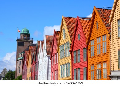 Bergen - famous town in Hordaland county, Norway. Bryggen quarter, UNESCO World Heritage Site.