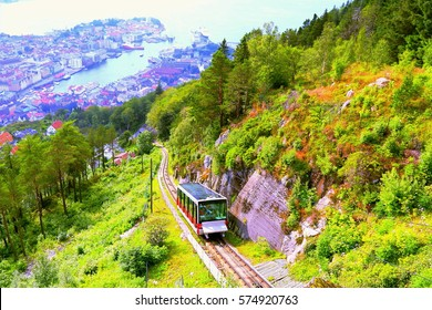 Bergen Funicular. Bergen Funicular making its way up Mount Floyen in Bergen, Norway