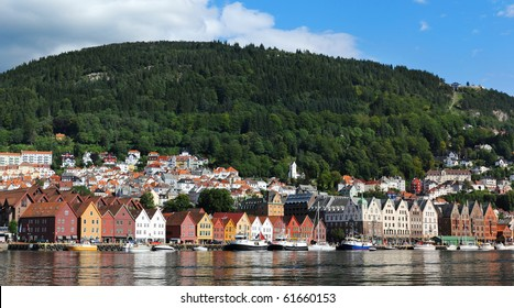 Bergen harbor - gate to the fjord. Norway