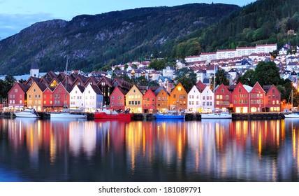 Bergen Night Scenery, Norway