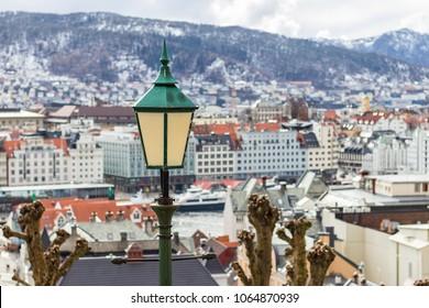 Bergen / Norway - 04 05 2018: Lantern above the Bergen