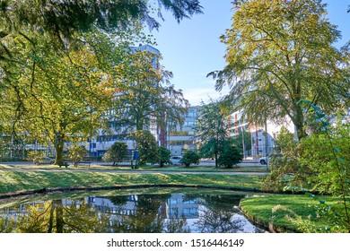 Bergen, Norway - 09.22.2019: Nygårdsparken is a public park located between the neighbourhoods of Nygård and Møhlenpris. Covering 172.896 square meters, it is the largest urban park in Bergen