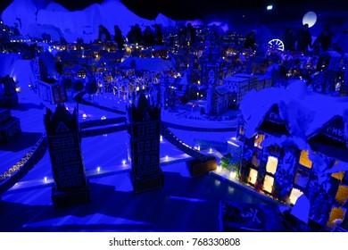 Bergen, Norway - 17 November 2017. Pepperkakebyen, the worlds largest Gingerbread Town made annually in Bergen