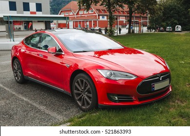 BERGEN, NORWAY - 18 JULY 2016: Tesla car. Tesla is an American company that designs, manufactures, and sells electric cars.
