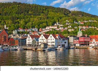 Bergen, Norway, 2016, May. View of the port of the town of Bergen with the mountain in Norway