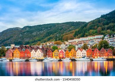 Bergen, Norway - 29 September 2019 ; historical building of Bergen at morning , UNESCO World Cultural Heritage site