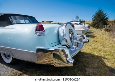 BERGEN, NORWAY - 4/29/18: Backside view of a 1954 Cadillac Eldorado convertible, parked in a mountain tourist area during a classic american car owners meeting.