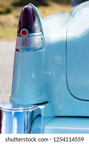 BERGEN, NORWAY - 4/29/18: Close up  back view of the tail light and fin of a 1954 Cadillac Eldorado convertible during a classic american car owners meeting.