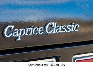 BERGEN, NORWAY - 4/29/18: Close up detail view of the trunk emblem of a 1981-1985 Chevrolet Caprice Classic California Highway Patrol vehicle during a classic american car owners meeting.