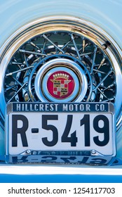 BERGEN, NORWAY - 4/29/18: Close up  frontal view of the spare tire and spoke wheel on the trunk of a 1954 Cadillac Eldorado convertible during a classic american car owners meeting.