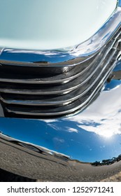 BERGEN, NORWAY - 4/29/18: Close up macro view of the chrome grill of a 1954 Cadillac Eldorado convertible, parked in a mountain tourist area during a classic american car owners meeting.