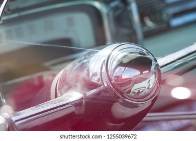 BERGEN, NORWAY - 4/29/18: Close up macro detail view of the steering wheel and analog speedometer of a 1954 Cadillac Eldorado convertible, during a classic american car owners meeting.