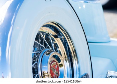 BERGEN, NORWAY - 4/29/18: Close up  side view of the spare tire and spoke wheel on the trunk of a 1954 Cadillac Eldorado convertible during a classic american car owners meeting.