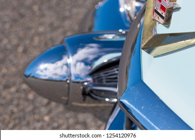 BERGEN, NORWAY - 4/29/18: Close up side view of the chrome dagmar elements of a 1954 Cadillac Eldorado convertible's front bumper during a classic american car owners meeting.
