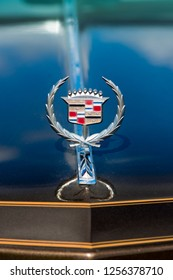 BERGEN, NORWAY - 4/29/18: Close up view of the emblem on the hood of a 1976 Cadillac Eldorado convertible, parked in a mountain tourist area during a classic american car owners meeting.