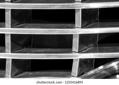 BERGEN, NORWAY - 4/29/18: Extreme close up macro view of the chrome grill of a 1954 Cadillac Eldorado convertible, parked in a mountain tourist area during a classic american car owners meeting.