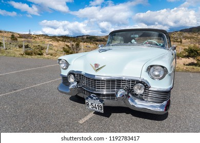 BERGEN, NORWAY - 4/29/18: Front side view of a 1954 Cadillac Eldorado convertible, parked in a mountain tourist area during a classic american car owners meeting.