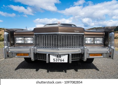 BERGEN, NORWAY - 4/29/18: Full front side view of a 1976 Cadillac Eldorado convertible, parked in a mountain tourist area during an amcar owners meeting.