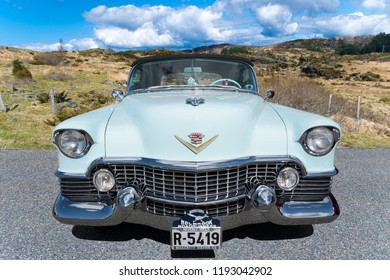 BERGEN, NORWAY - 4/29/18: Full frontal view of a 1954 Cadillac Eldorado convertible, parked in a mountain tourist area during a classic american car owners meeting.