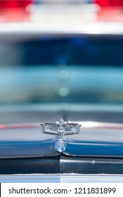 BERGEN, NORWAY - 4/29/18: Full frontal close up view of the hood ornament of a  1981-1985 Chevrolet Caprice Classic California Highway Patrol vehicle during a classic american car owners meeting.