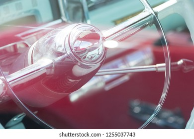 BERGEN, NORWAY - 4/29/18: View of the steering wheel and dashboard of a 1954 Cadillac Eldorado convertible, parked in a mountain tourist area during a classic american car owners meeting.