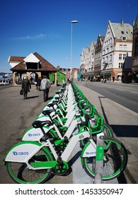 Bergen Norway - April 20, 2019: OBOS  City bikes station is a complement to other forms of transportation around the city. Fast, fun and environmentally friendly.