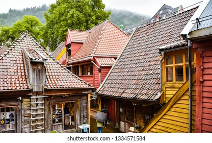 Bergen, Norway - Aug. 10, 2018: Old homes converted into shops, old section of town, Bergen, Norway.