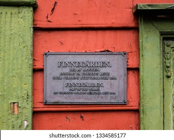 Bergen, Norway - Aug. 10, 2019: Marker, Finnegården, one of the conserved wooden buildings on Bryggen in Bergen, Norway.