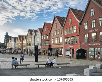 BERGEN, NORWAY - AUG 22: Tourists walk on city streets, August 22, 2007 in Bergen, Norway. Five million people visit the city every year.