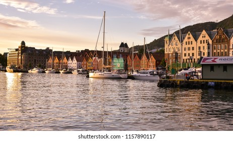 Bergen, Norway - Aug. 9, 2018: Bryggen, the old wharf of Bergen, at sundown - Bergen, Norway