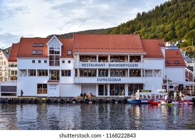 Bergen, Norway - Aug. 9, 2018: Bryggeriet Restaurant & Microbrewery on Bryggen, the old wharf of Bergen, Norway.