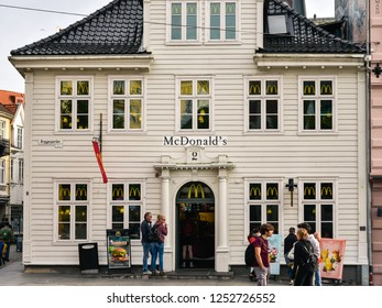 Bergen, Norway - Aug. 9, 2018: McDonald's branch fast food restaurant in Bergen, Norway.