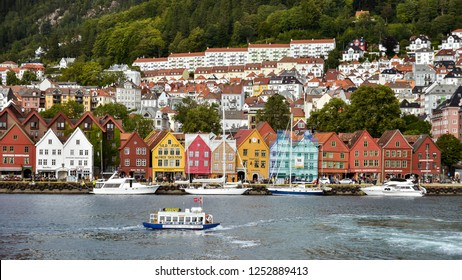 Bergen, Norway - Aug. 9, 2018: Colorful and attractive buildings in the quaint old town section of Bergen, Norway.
