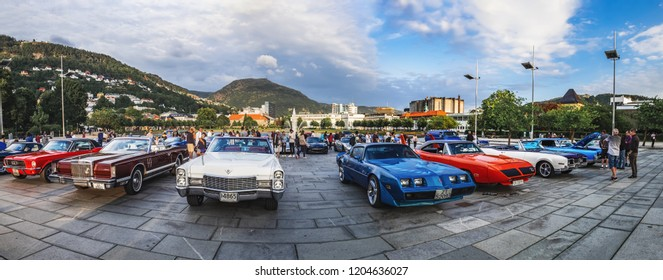 Bergen, Norway - August 1, 2018: Vintage American Car show on the Festplassen square in Bergen, Norway. Event organized by Bergen AmCar Club for inhabitants of the city and tourists