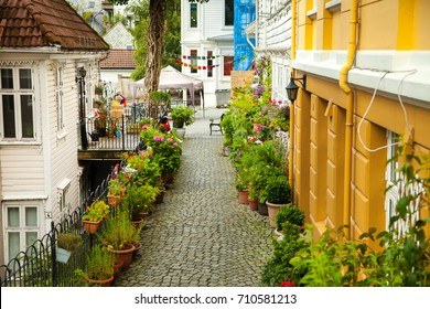 BERGEN, NORWAY - AUGUST 15, 2017: Famous Bryggen street in Bergen Norway - architecture background.Bergen, Norway.View of historical buildings in Bryggen