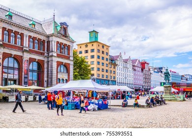 BERGEN, NORWAY, AUGUST 22, 2016: View of a marketplace in the city center of the norwegian city Bergen.