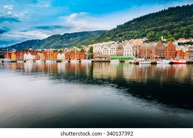 Bergen, Norway - August 3, 2014: View of historical architecture, buildings, Bryggen in Bergen, Norway. UNESCO World Heritage Site