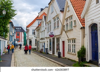 BERGEN, NORWAY - AUGUST 4, 2016: Traditional houses in the old town of Bergen, Norway on August 4 2016. Bergen is the second largest city in Norway.