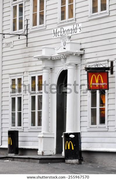 BERGEN, NORWAY - CIRCA JULY 2009: McDonald's restaurant set in an old Norwegian building.