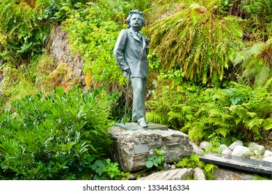 BERGEN, NORWAY - JULY 19, 2018: Edvard Grieg`s life-size statue at the top of the path to his composing cabin at Troldhaugen, Bergen