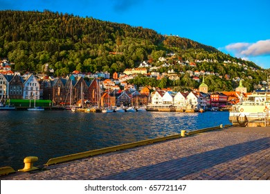 BERGEN, NORWAY - JULY 2017 : Bergen is a city and municipality in Hordaland on the west coast of Norway.