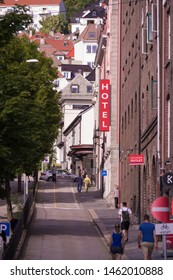 BERGEN, NORWAY - JULY 28, 2018: Street with a hotel in the center of Bergen, the second largest city in the country