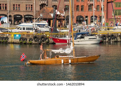 BERGEN, NORWAY - JULY 28, 2018: Smal vessel in the port of Bergen. The port has 5,500 meters of quays with draft at 11 meters.