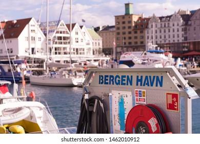 BERGEN, NORWAY - JULY 28, 2018: Detail of the port of Bergen (Bergen Havn). The port has 5,500 meters of quays with draft at 11 meters.
