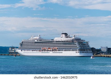 BERGEN, NORWAY - JULY 28, 2018: Viking Star cruise liner moored in the port of Bergen