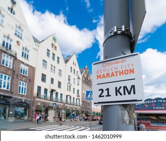 BERGEN, NORWAY - JULY 28, 2018: Shield of the Bergen city marathon with a distance on it