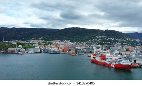 Bergen, Norway - July 30, 2018: Scenic views of Bergen, city and municipality in Hordaland on the west coast of Norway, from the large cruise ship terminal at Dokken, one of the two harbors in Bergen