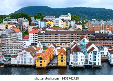 BERGEN, NORWAY - JUNE 03, 2019: View of Bergen harbor and authentic houses from the cruise ship. Bergen is the city and municipality in Hordaland on the west coast of Norway