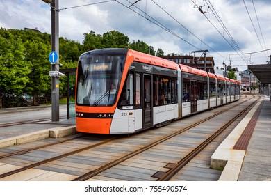 BERGEN, NORWAY - JUNE 15,2017: Bergen Light Rail Bybanen . The line of the Bergen tram received the 2011 award as the best in the world.